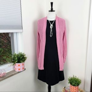 Talbots | Pink Linen Woven Open Cardigan Sweater